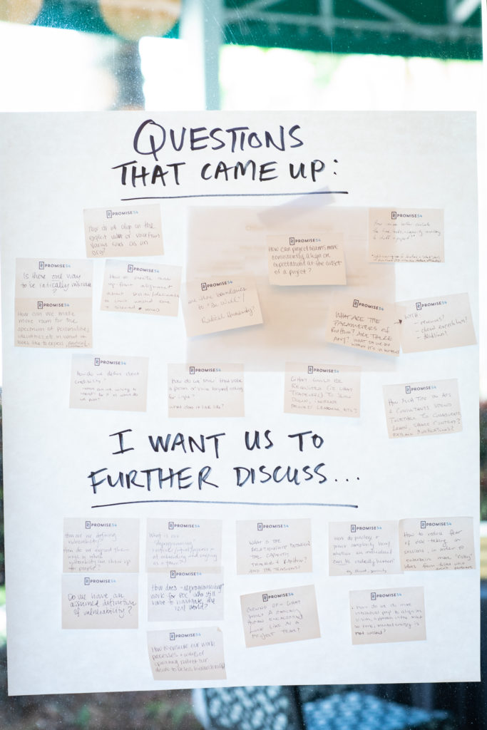 A large piece of white chart paper hangs on a window. The paper is covered in adhesive notes divided into two groups: Questions that Came Up and I Want to Further Discuss.
